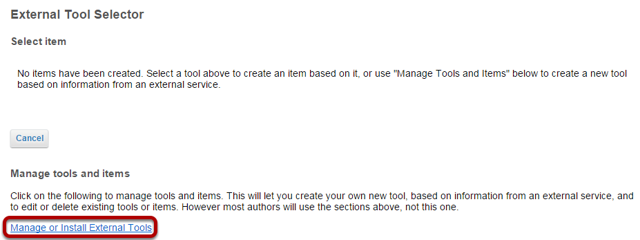Click Manage or Install External Tools.