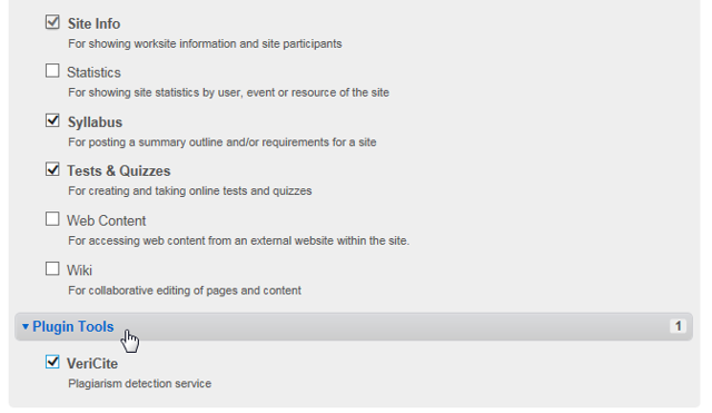 """Now that the LTI tool has been added to the system, instructors will see it listed as a """"Plugin Tool"""" when they go to Site Info > Edit Tools."""