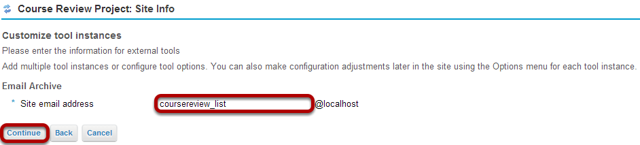 Enter the email alias and click Continue.