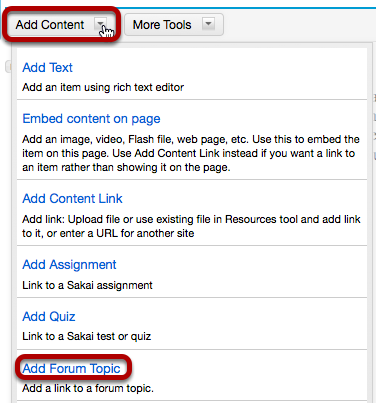 Click Add Content, then Add Forum Topic.