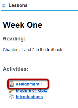 Or, click the direct link to the assignment in Lessons.