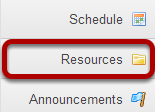 To access this tool, select Resources from the Tool Menu in My Workspace.