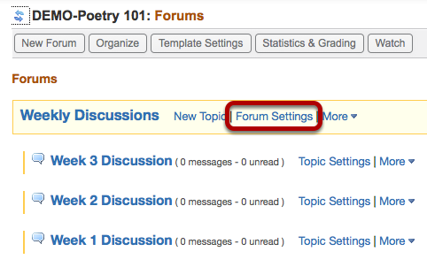 Click Forum Settings.