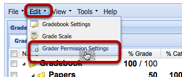 Click Edit > Grader Permissions Settings.