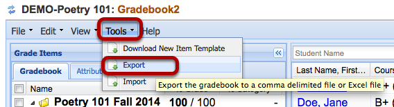 Click Tools > Export.