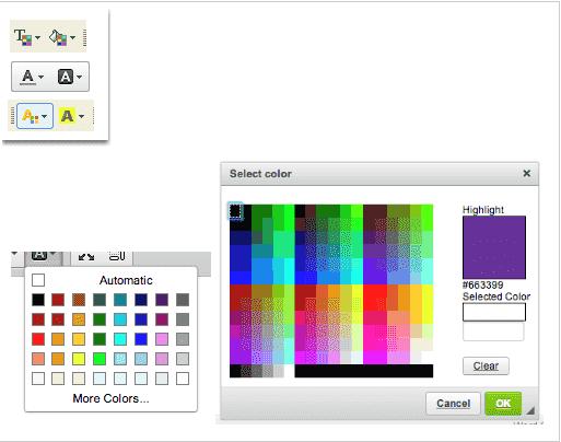 Etapas para alterar primeiro plano e cores de fundo
