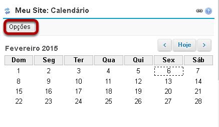 Clicar em opções para personalizar a exibição do calendário.