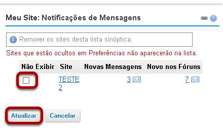 Meu Site: Notificações de Mensagens - Opções de exibição