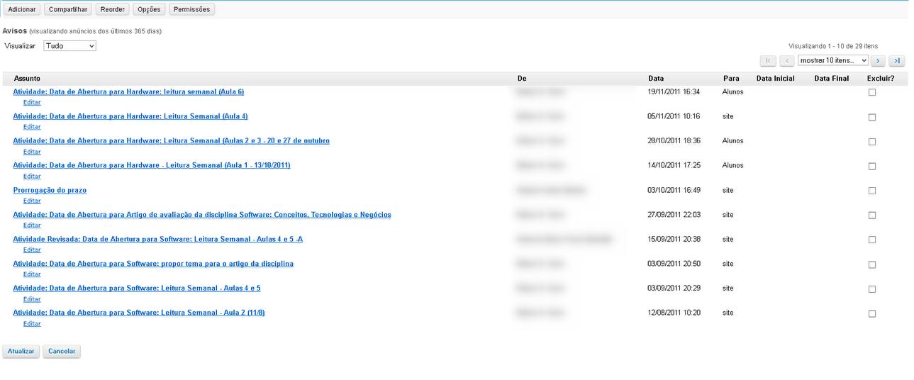 Exemplo dos Avisos no Site Original
