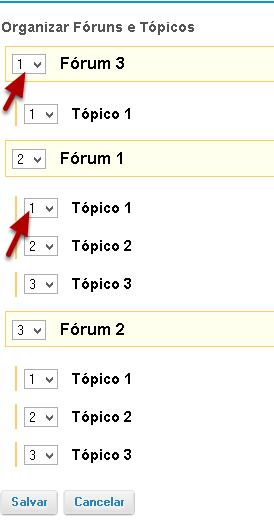 Selecionar o número apropriado ao lado do Fórum ou Tópico.