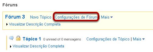 Você também pode clicar em Configurações de Fórum ao lado do fórum que você deseja excluir.