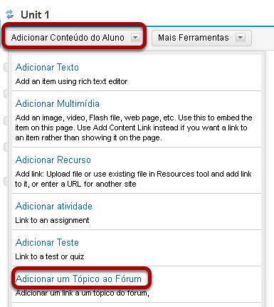Clicar em Adicionar Conteúdo e, em seguida, selecione Adicionar um Tópico do Fórum.