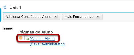 Para visualizar a página de um aluno, clique sobre o nome do aluno.