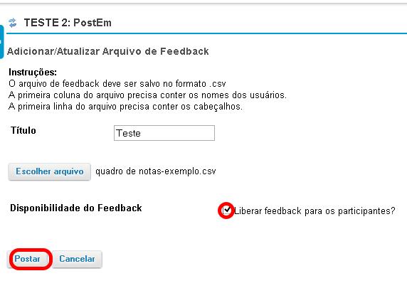 Liberar e postar o feedback.