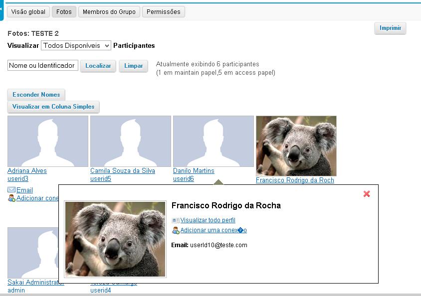 Exemplo de exibição da imagem do perfil em Participação.