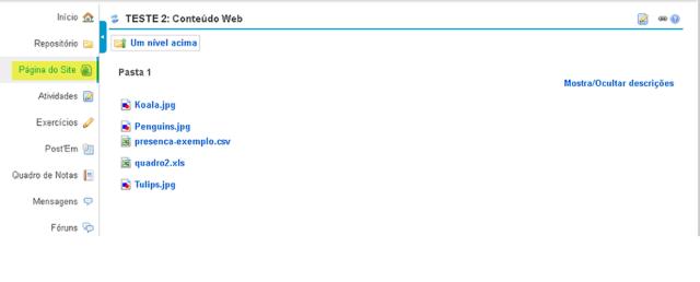 Visualizar o link da pasta no menu de ferramentas.