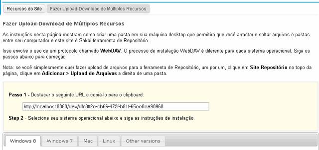As instruções para WebDAV serão exibidas.