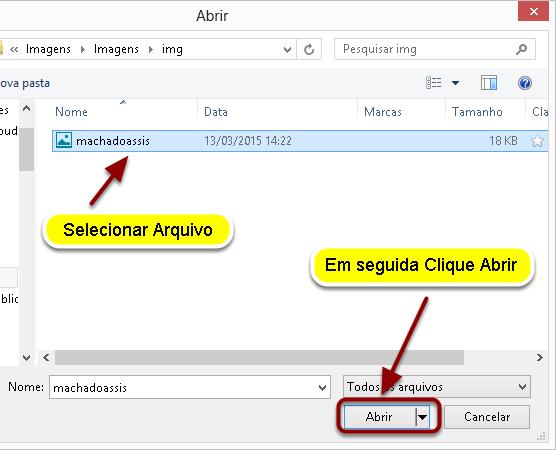 Localizar e selecionar o arquivo de imagem no seu computador e, em seguida, clicar em Abrir