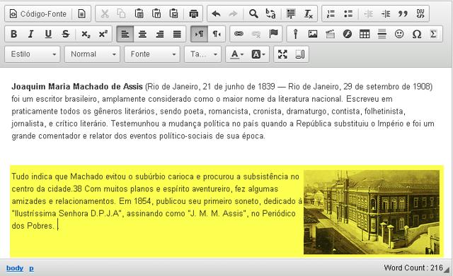 Exemplo de texto adicional exibido ao lado de uma imagem alinhado à direita.