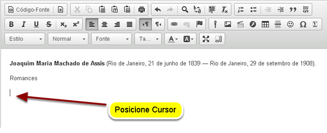 Posicionar o cursor.
