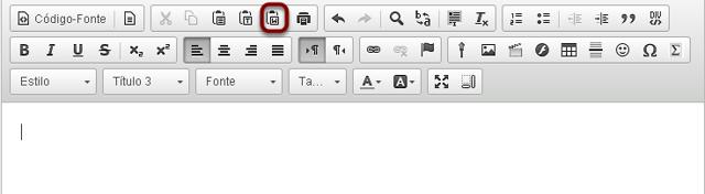 No Editor de Texto Rico, clicar  no ícone Colar Do Word.