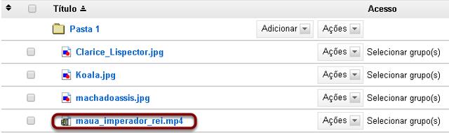 Upload doseu arquivo de vídeo MP4 para uma pasta em Repositório.