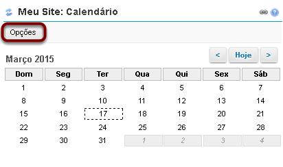 Opções de Calendário.