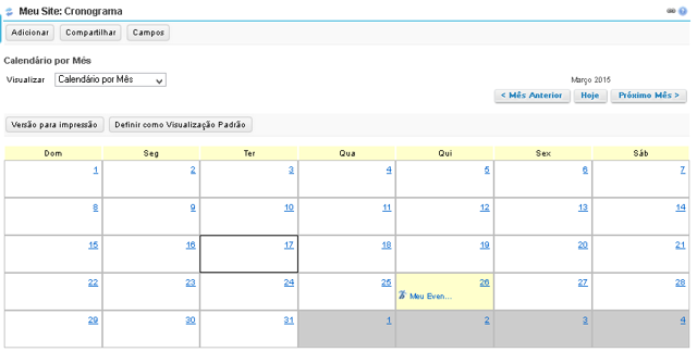 Calendário por mês.