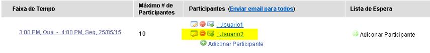 O usuário agora está inscrito para essa reunião.