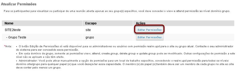 Selecionar as permissões que você deseja editar (por exemplo, site).