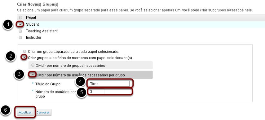 Criar grupos aleatórios por número de usuários por grupo.