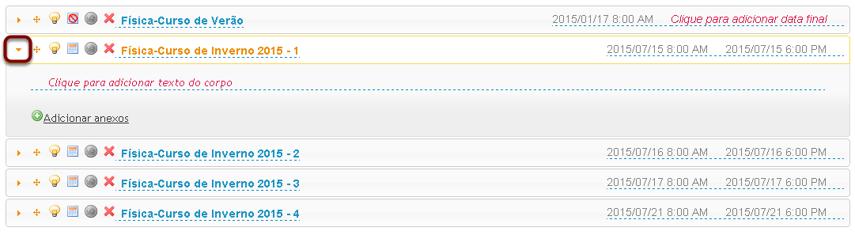 Clicar no ícone de seta para a esquerda de um item para expandir o item.