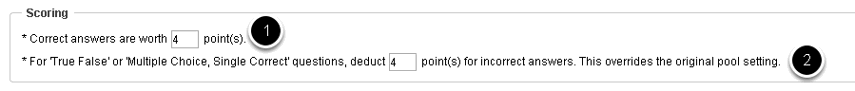 """Se """"obter aleatoriamente do banco de dados"""" é selecionado, escolha o valor do ponto da questão."""