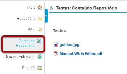 Exemplo do link de Conteúdo Web para uma pasta em Repositório.