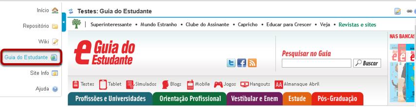 Visualizar o novo link de Conteúdo Web.