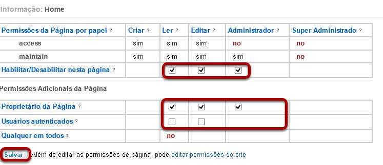Editar as permissões a nível da página.