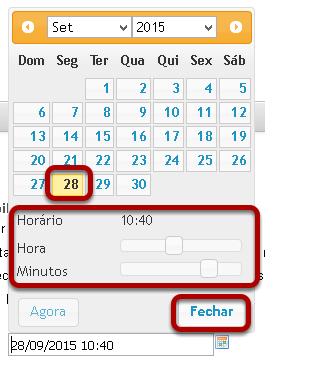 Use ícone de calendário para inserir data e hora.