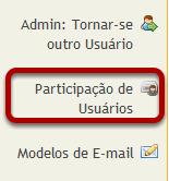 Para acessar esta ferramenta, selecione Participação de Usuários a partir do menu de ferramentas no Site Administrativo.