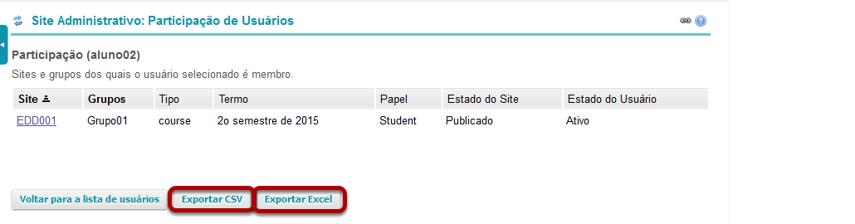Clique em Exportar CSV ou Exportar Excel.