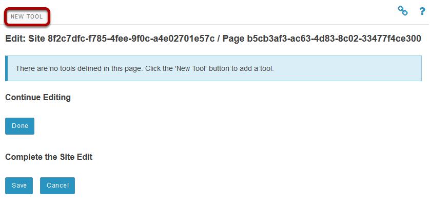 Click New Tool.