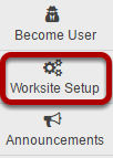 To access this tool, click Worksite Setup from the Tool Menu in My Workspace.