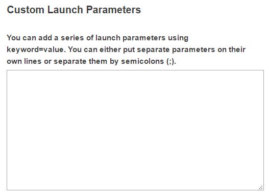 Custom launch parameters. (Optional)