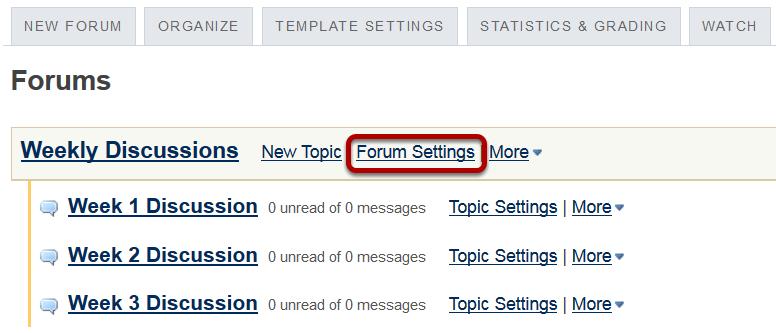 Click Forum Settings.