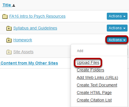 Click Actions, then Upload Files.