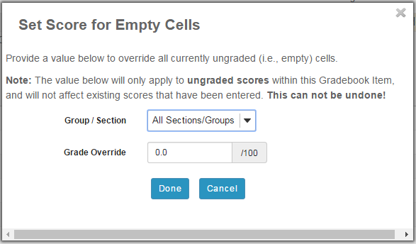 Set Score for Empty Cells.