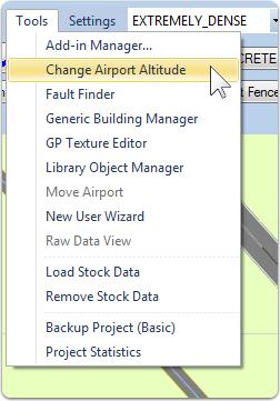 Open the Change Airport Altitude Tool
