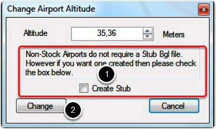 Set new altitude for user defined airports