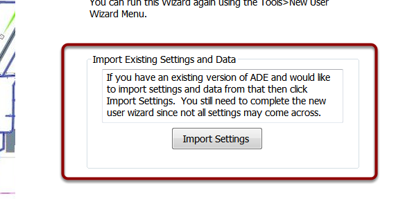 Import existing settings