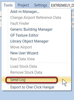 Send log from Tools menu