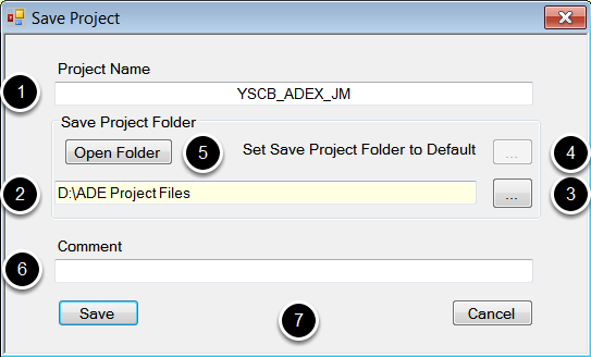 Save project dialog